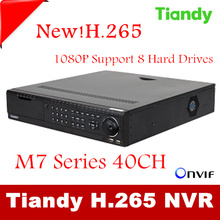 New Tiandy 40CH H.265 CCTV DVR NVR Recorder P2P iCloud Up to HD 1920*1080 40CH NVR Recorder Support Onvif Multi-Language