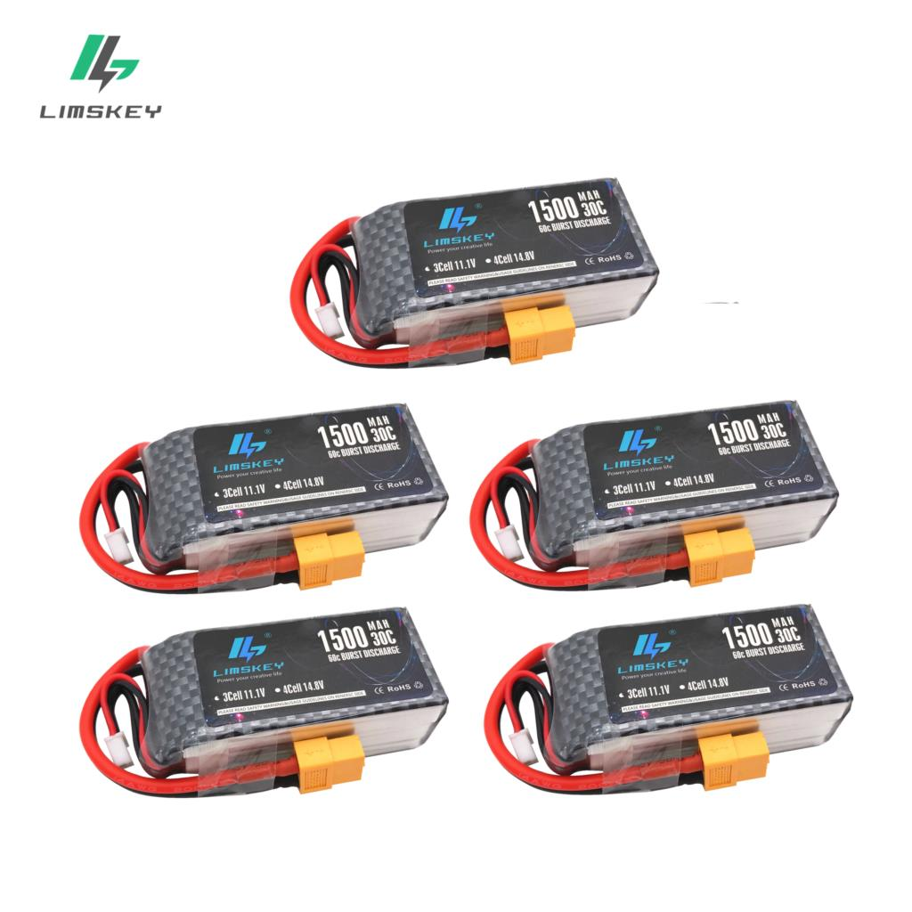 HOT 5pcs Limskey <font><b>LiPo</b></font> Battery 11.1V <font><b>1500Mah</b></font> <font><b>3S</b></font> 30C MAX <font><b>60C</b></font> XT60 Plug For RC Car Airplane boats Helicopter Part WLtoys V950 image
