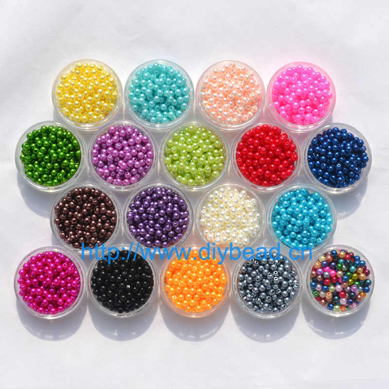500pcs DIY fashion Jewelry Accessory 5MM Acrylic Beads Plastic Imitation Pearl Round Shape 18 Colors Measly Bracelet Department