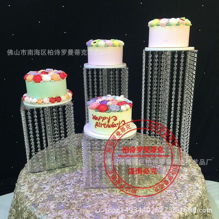Square  crystal wedding frame birthday party cake stand set