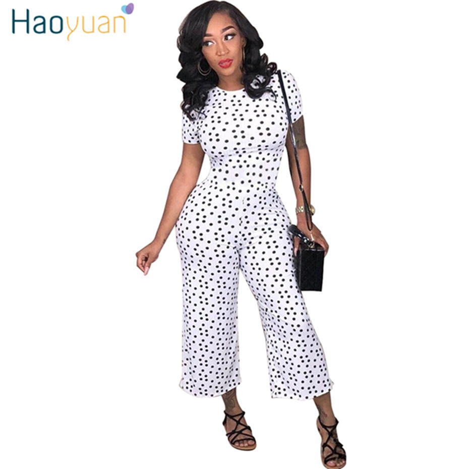1c44b80b657 HAOYUAN Black White Polka Dot Sexy Jumpsuit Plus Size Casual Clothes  Overalls Body Streetwear One Piece Rompers Womens Jumpsuit-in Jumpsuits  from Women s ...
