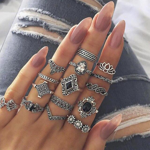 FAMSHIN 15 cái/bộ Thời Trang Cổ Điển Nhẫn Set Femme Đá Bạc Midi Finger Nhẫn Boho Phụ Nữ Đồ Trang Sức Knuckle Nhẫn Set Trang Sức quà tặng