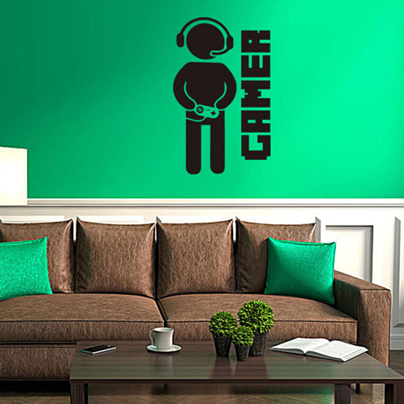 Video Game Wall Sticker Gamer Joystick Wall Decal Art For