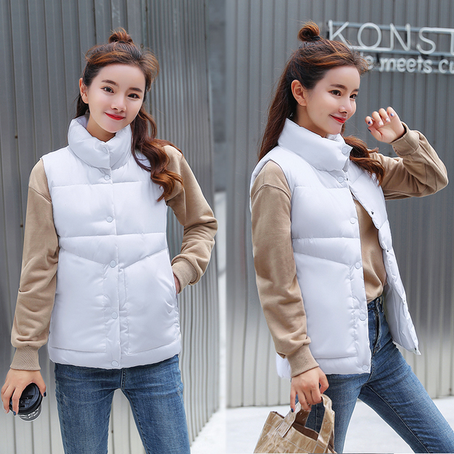 2018 phụ nữ Thời Trang mùa đông vest Giản Dị Mùa Thu đứng cổ áo đơn ngực hai túi màu trắng không tay áo ghi lê