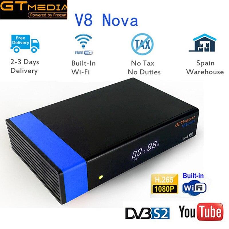 GTMedia V8 Nova Blue Spain Portugal Germany  DVB-S2 Satellite Receiver+1 Year Free CCcam for  Europe H.265 Decoder Set Top Box