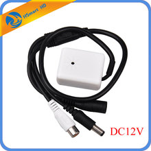 New Hot Audio Pick Up CCTV Microphone Wide Range Camera Mic Audio Mini Microphone With 12V DC Output for CCTV Security DVR