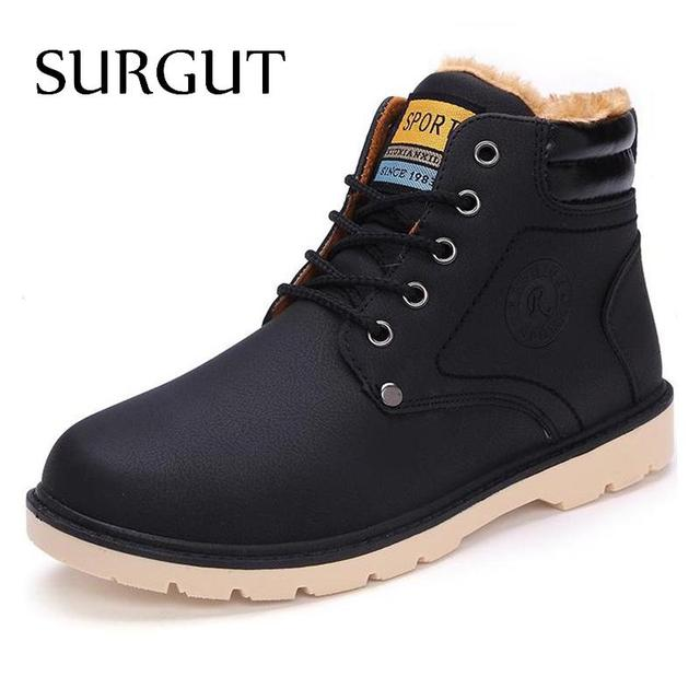 SURGUT Brand Hot Newest Keep Warm Men Winter Boots High Quality pu Leather Casual Boots Working Fahsion Boots Essential Shoes