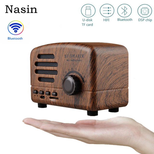 Nasin BT01 Retro Portable Mini Bluetooth Speaker Wireless Speakers 5W Super Bass Music Loudspeakers Support TF