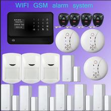 433mhz  GSM WiFi alarm systeem Multilingual 2.4G Wireless Home Security+Smoke Detector for  fire alarm