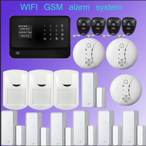 New product GSM WiFi alarm systeem Multilingual 2.4G Wireless Home Security+Smoke Detector for smart home security