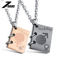 Fashion Lettering Boy Girl Symbol Pendant Necklace Lovers Rose Gold Plated Stainless Steel Women Men Jewelry