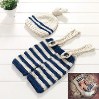 Photography Outfits Newborn Hand Knitting Woolen Yarn Cap With Pants Baby Photography Props Hat Baby Acccessories