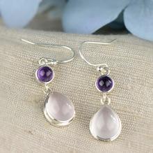 Hot sale natural green amethyst quartz gemstone Dangle hook Earrings Pure 925 Sterling Silver Fine Jewelry For Women