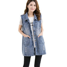 Oversized 5XL Women's Sleeveless Coat Spring Summer 4 Pockets Slim Denim Vest Vintage Casual Jeans Jackets Waistcoat Ladies Tops(China)