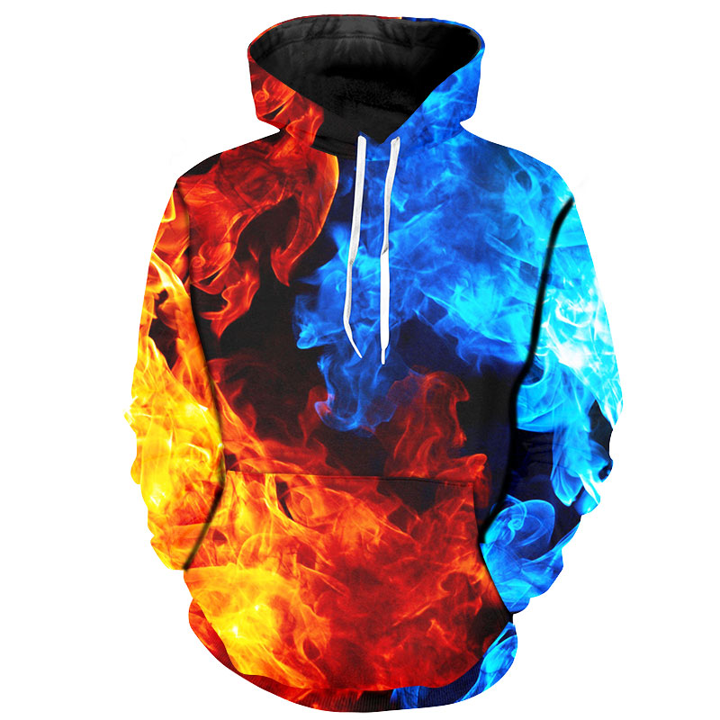 Cloudstyle New Design Men 39 s Hoodies Colorful Pullovers 3D Sweatshirts Print Fire and Ice Thin Streetwear Men Women Tops Hooded in Hoodies amp Sweatshirts from Men 39 s Clothing