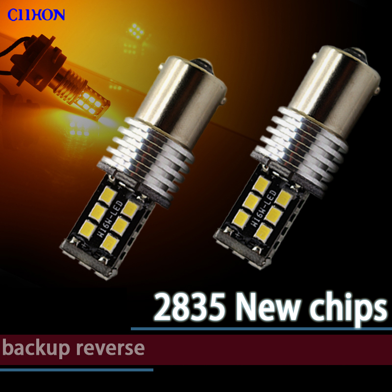 2PCS 1156 Ba15s P21w Bau15s 15 SMD Bombillas LED 7506 1141 Lámpara de marcha atrás de frenado automático T20 7440 7443 Luz de señal de giro Ciihon