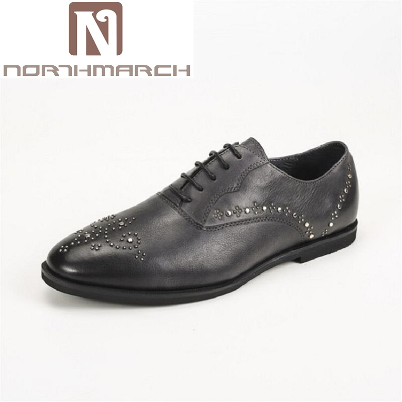 NORTHMARCH Luxury Leather Rivet Brogue Mens Formal Shoes Flats Shoes British Style Men Oxfords Brand Banquet Dress Shoes For Men qffaz new 2018 luxury leather brogue mens flats shoes casual british style men oxfords fashion brand dress shoes for men lace up