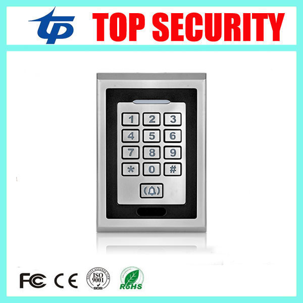 Metal case led keypad access control reader standalone 13.56MHZ MF card access control system surface waterproof access control metal rfid em card reader ip68 waterproof metal standalone door lock access control system with keypad 2000 card users capacity
