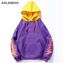 Aolamegs Patchwork Printed Thick Hooded Pullover Sweatshirt Men Fleece High Street