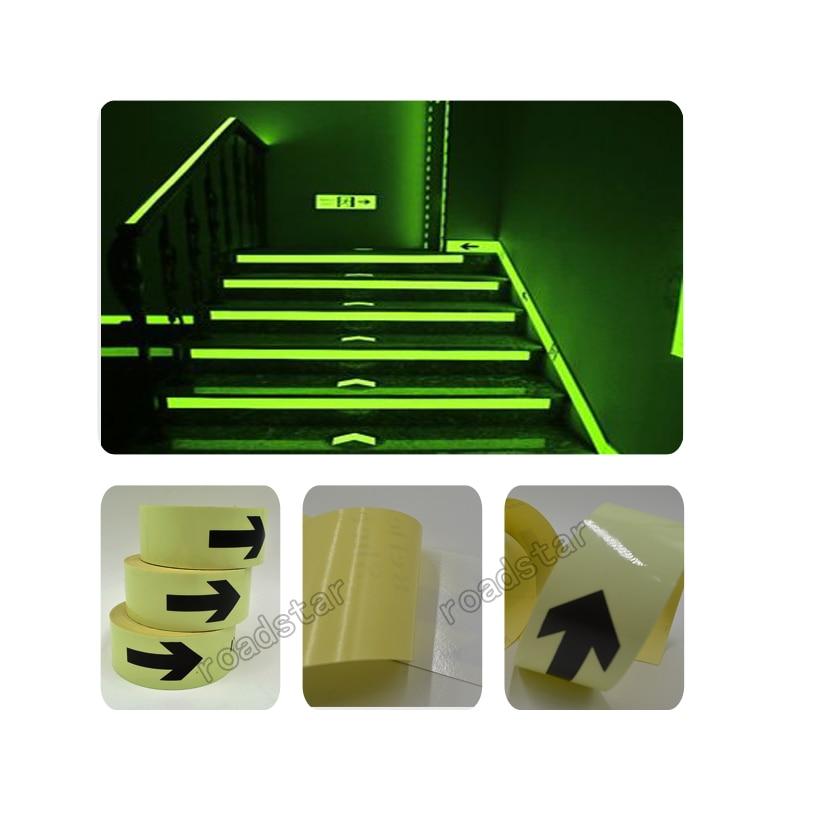 50mm X50M Tahan Air Photoluminescent PET Sign Keluar Tanda Cahaya Tape