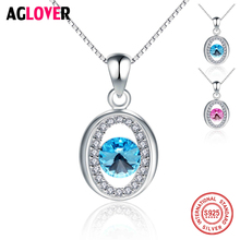 Vintage Crystal Real 100% 925 Sterling Silver Necklace Short Box Chain Choker Necklaces & Pendants Jewelry For Women aglover necklace 2018 short 925 silver chain crystal choker necklaces