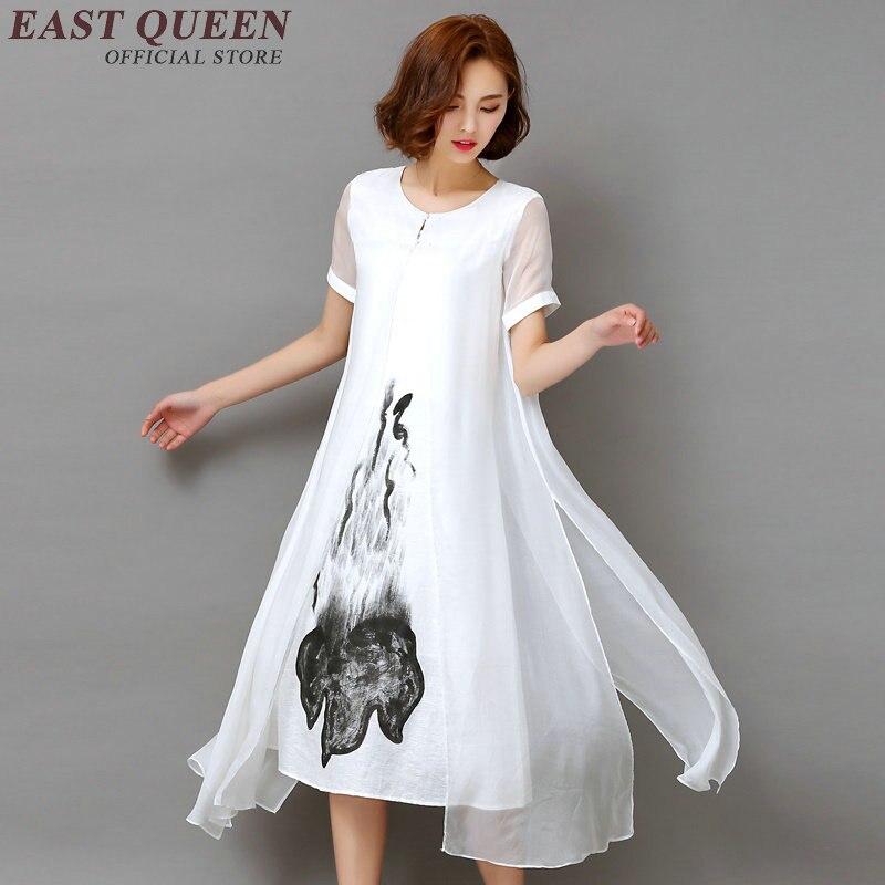 f710e43418e5e الصينية الشرقية الفساتين الأبيض الكتان اللباس السيدات النساء الكتان الملابس  الصينية نمط المطرزة الكتان اللباس AA1083