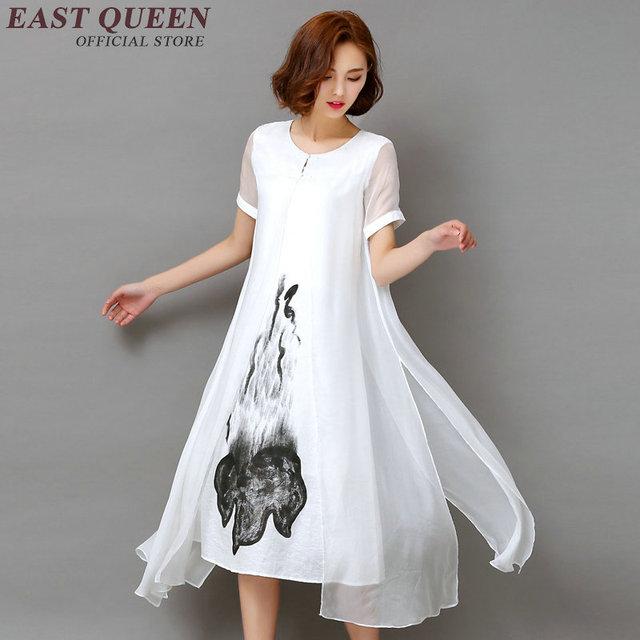 new concept 11879 8fcdf US $28.05 45% di SCONTO|Cinese orientale abiti delle donne di lino bianco  vestito delle donne delle signore dei vestiti di lino stile cinese ricamato  ...