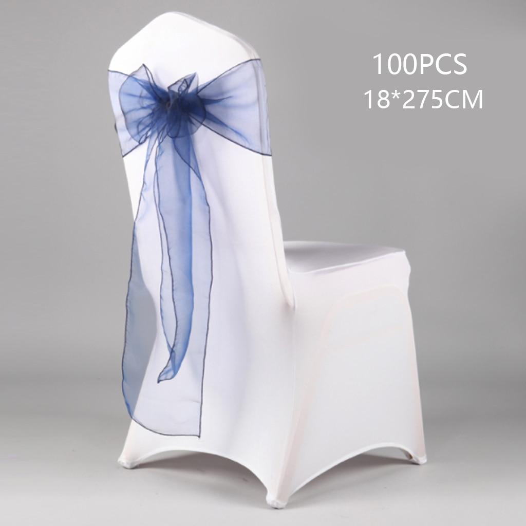 100 шт, хит продаж, эластичный чехол для свадебного стула, атласная ткань, галстук-бабочка, лента, свадебные украшения для вечеринки, дня рожде...
