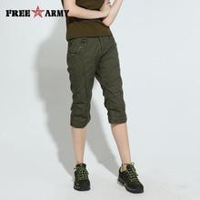 Womens Army Green Half Pants Slim Fit Knee-Length Pants Casu