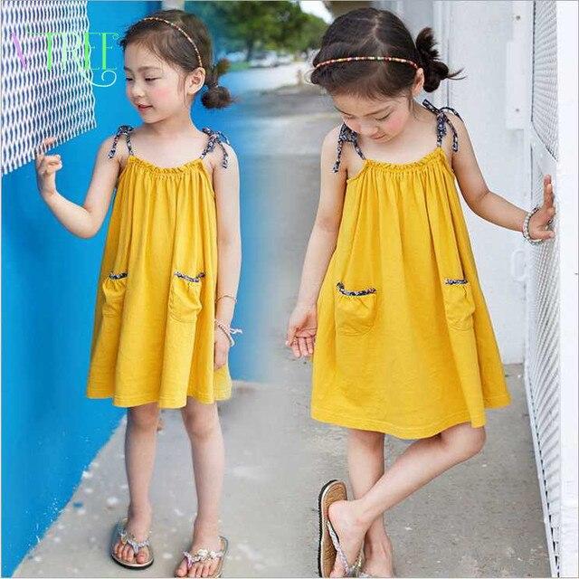 Nuevo estilo vestido de la muchacha sin mangas de la playa vestidos de verano para las niñas vestido de tirantes ocasional de disfraces para niños adolescentes bebé outwear