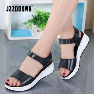 Image 2 - Genuine Leather Women sandals shoes Platform ladies white Sneakers Sandals shoe 2018 summer open toe Fashion High Heel footwear