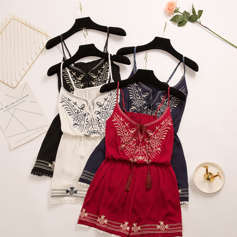 2019 New Women Embroidery Short Playsuits Rompers Deep V Neck Sling Womens   Jumpsuit