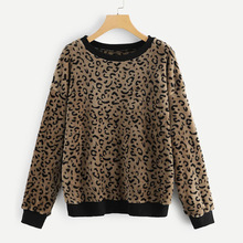 2019 spring new women's fashion round neck leopard pullover loose plush top coat ladies blouse black round neck flared sleeves blouse