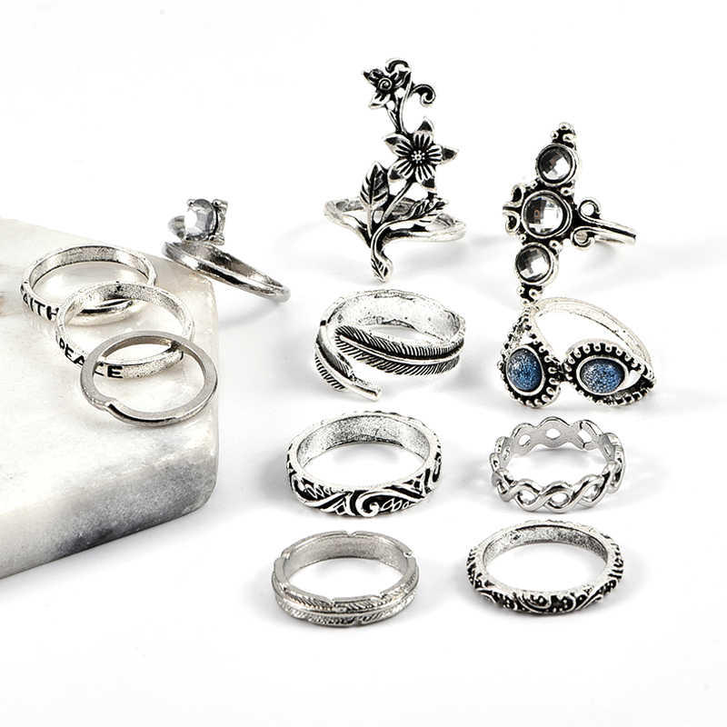 13 Pcs/Set Bohemian Mosaic Crystal Gem Silver Water Drop Leaf Flower Letter Opening Ring Female Charm Joint Ring Set Combination