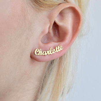 Personalized Custom Name Earrings For Women Customize Initial Cursive Nameplate Stud Earring