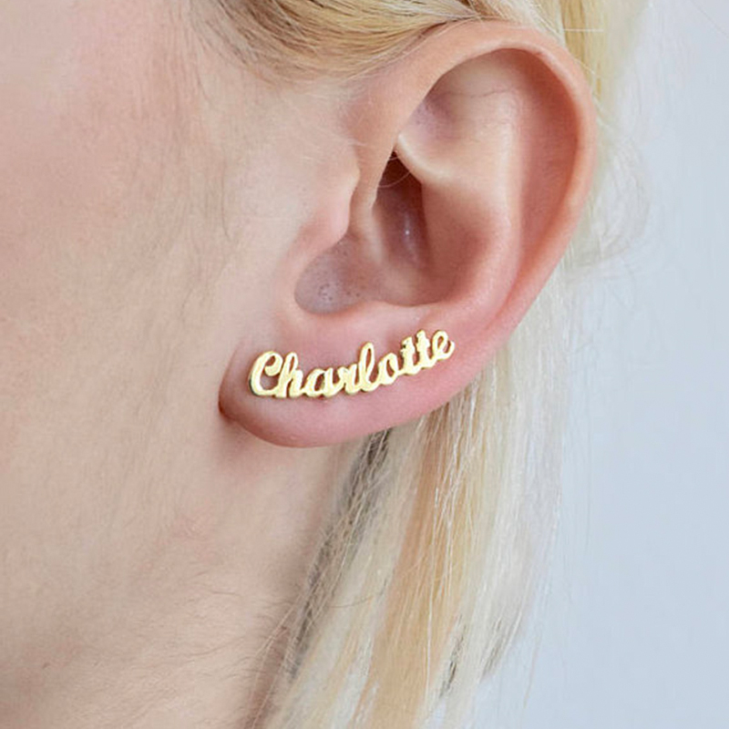 1 Pair Personalized Custom Name Earrings For Women Customize Initial Cursive Nameplate Stud Earring Gift For Best Friend Girls