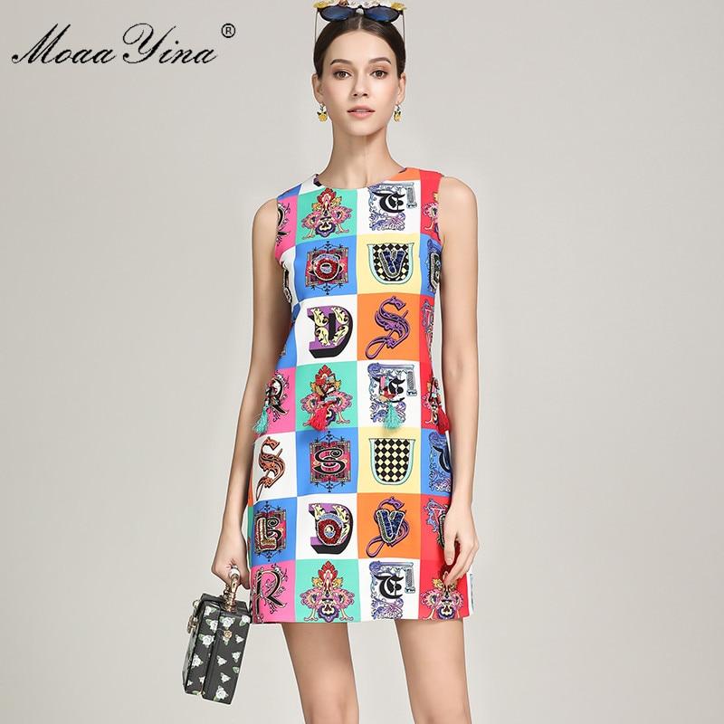 MoaaYina Summer Fashion Short Dress Women s Sleeveless Plaid Print Beading Tassel Party Elegant Runway Dresses