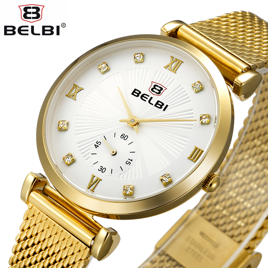 BELBI Brand New Elegant Fashion Watch Women Stainless Stell Mesh Bracelet Band Casual Quartz Wristwatch Ladies