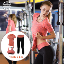 YD New 3 pcs Professional Yoga Set Quick Dry Workout Sport Suit Tights Sexy Top Gym Clothes Pant Sports Bra Tracksuit For Women