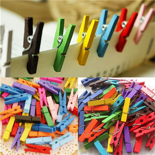 50 Pcs/lot Mini Wooden Craft Pegs Clothes Paper Photo Hanging Spring Clips Clothespins For Message Cards 30mm Random Color