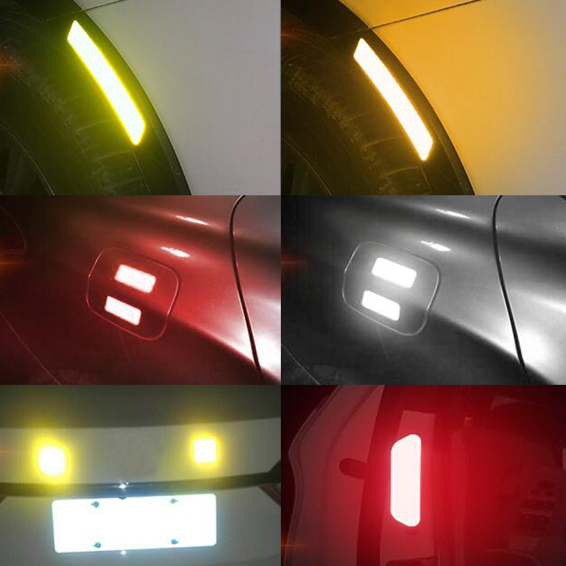 Image 5 - 4Pcs Car Reflective Tape Warning Mark sticker Accessories Exterior For Chevrolet Cruze OPEL MOKKA ASTRA J Hyundai Solaris Accent-in Car Stickers from Automobiles & Motorcycles