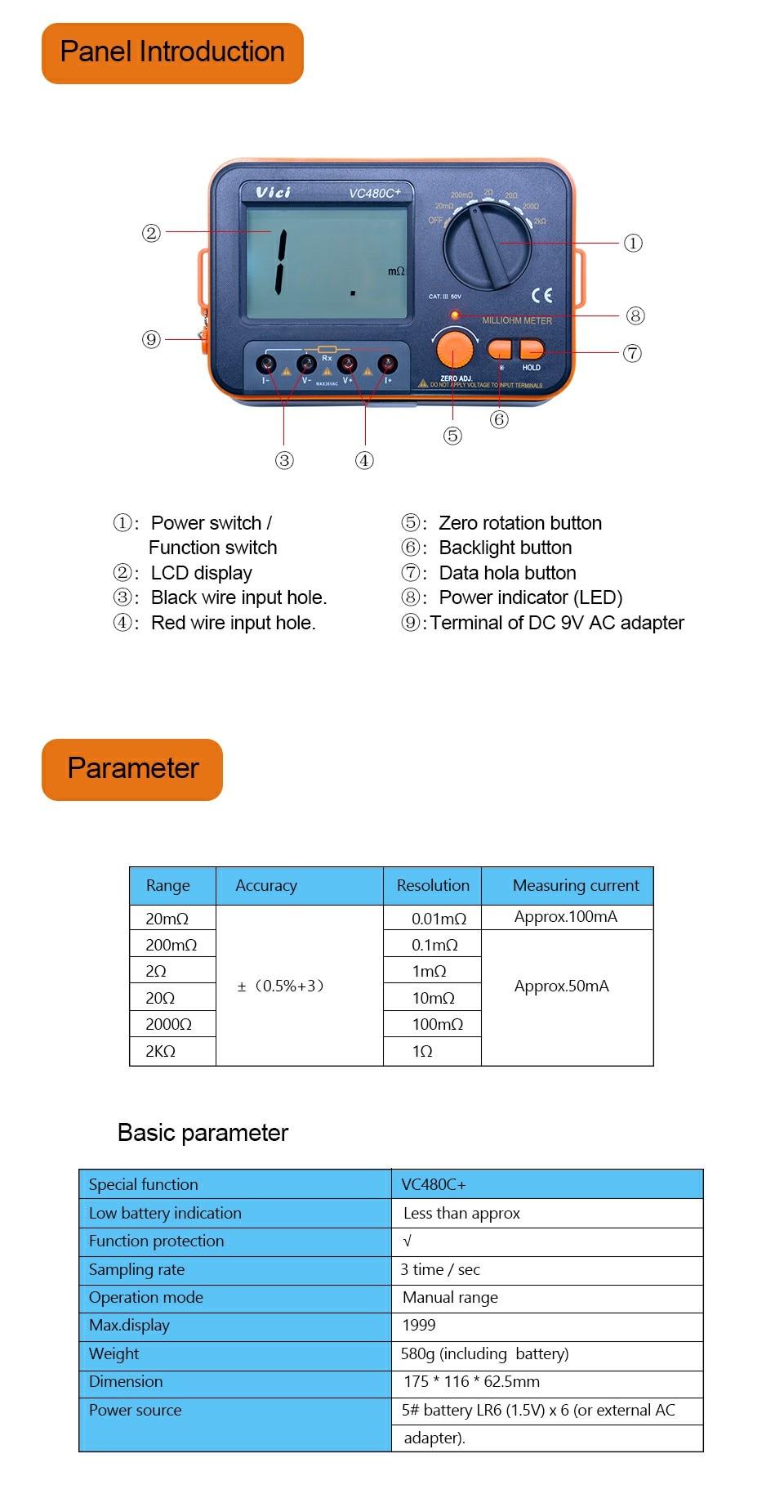 Vici vc480c + digital milliohm medidor 2k
