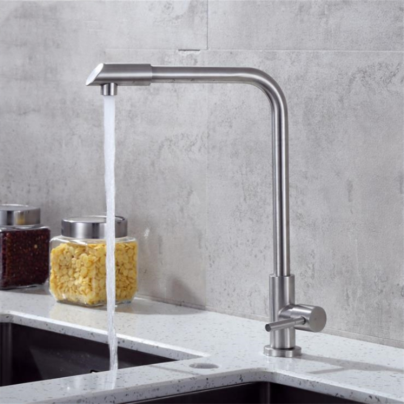 360 Single Handle Single Hole Kitchen Faucet  Sink Tap Wall Kitchen Faucet Modern Cold Water With 1 Hose