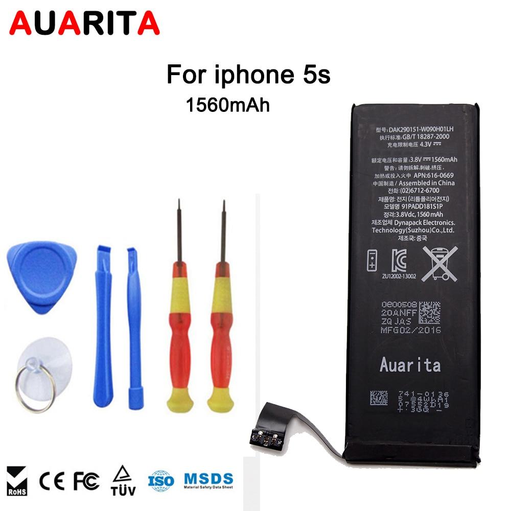 Handy-akku Für Apple iPhone 5 S Reale Kapazität 1560 mAh Kostenlose Reparatur Werkzeugmaschinen li-ion akku 3,8 V ganze verkauf kostenloser versand