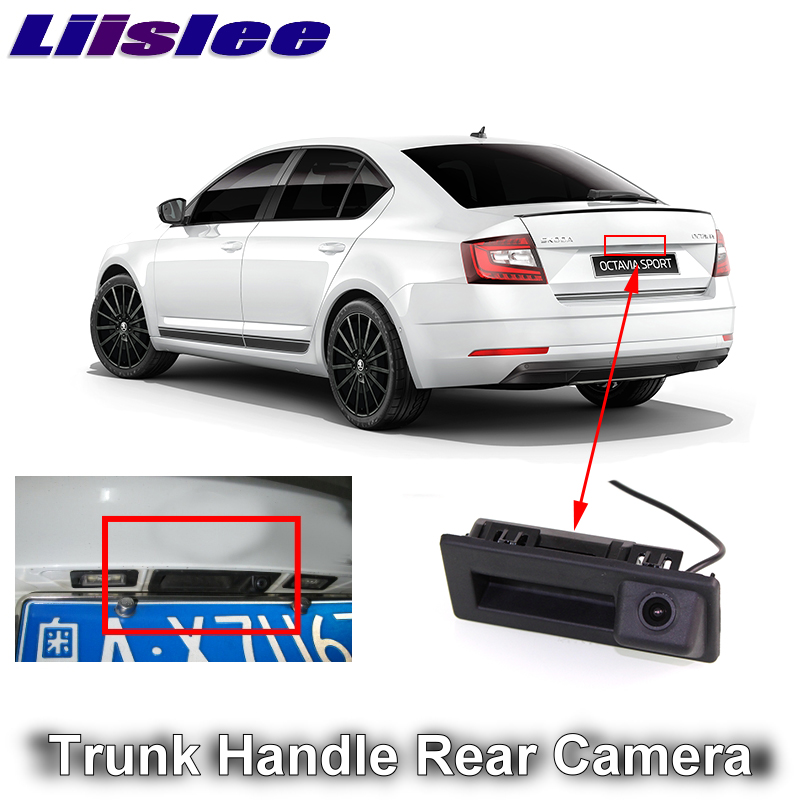 LiisLee For SKODA Octavia MK3 A7 2016 2017 2018 2019 Car Rear View Parking Reverse Camera Original Factory Trunk Handle Camera
