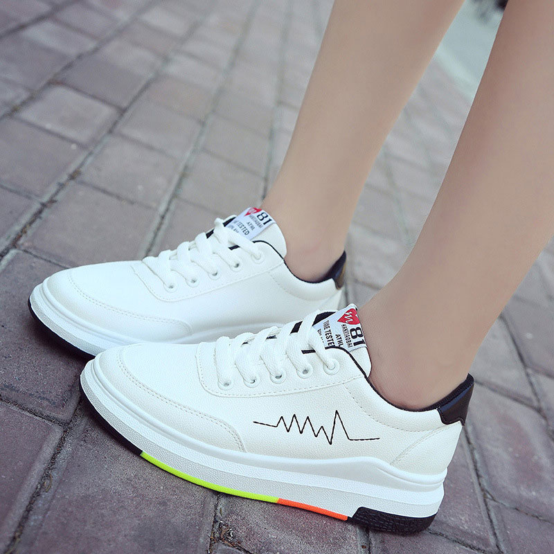 Wedges shoes woman 2018 new fashion PU Leather spring women shoes tenis feminino mixed color lace-up women sneakers все цены
