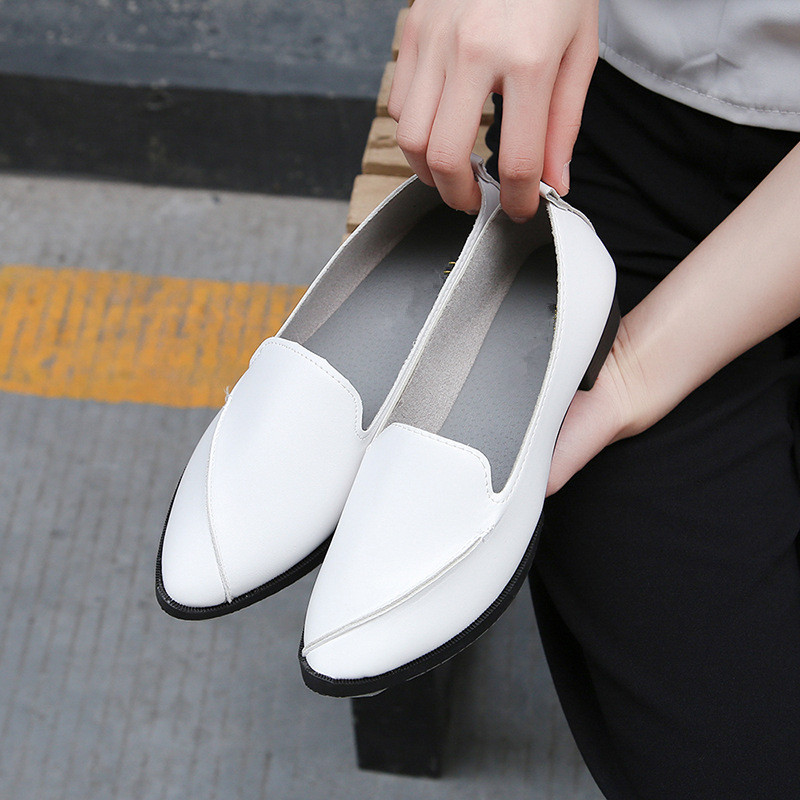 New Fashion Simple Style Women Flats Loafers 2017 Autumn Shallow Slip on Casual Work Lady Shoes High Quality PU Leather Non-slip 2017 shoes women med heels tassel slip on women pumps solid round toe high quality loafers preppy style lady casual shoes 17