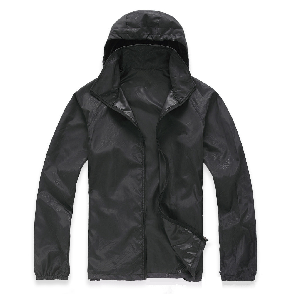 Black Unisex Waterproof Windproof Nylon Bike Jacket Bicycle Running Outdoor Sports Rain Coat
