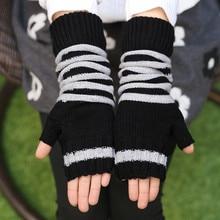 Striped Winter Women's Gloves Grid Wrist Arm Warmer Long Fingerless Knit Mitten
