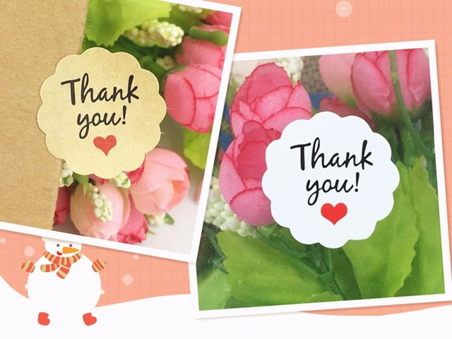 white brown thank you sticker labels paper packing label stickers
